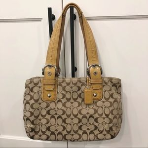 Coach Soho Brown Signature Jacquard Tote Bag